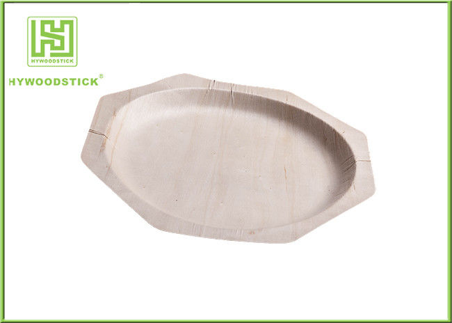 Polygone Shape Wooden Sushi Plate Set , Smooth Surface Disposable Restaurant Plates