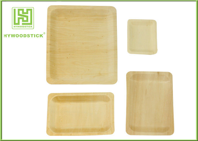Fancy Wooden Disposable Plates , Odorless Wooden Dessert Plates Cake Tray